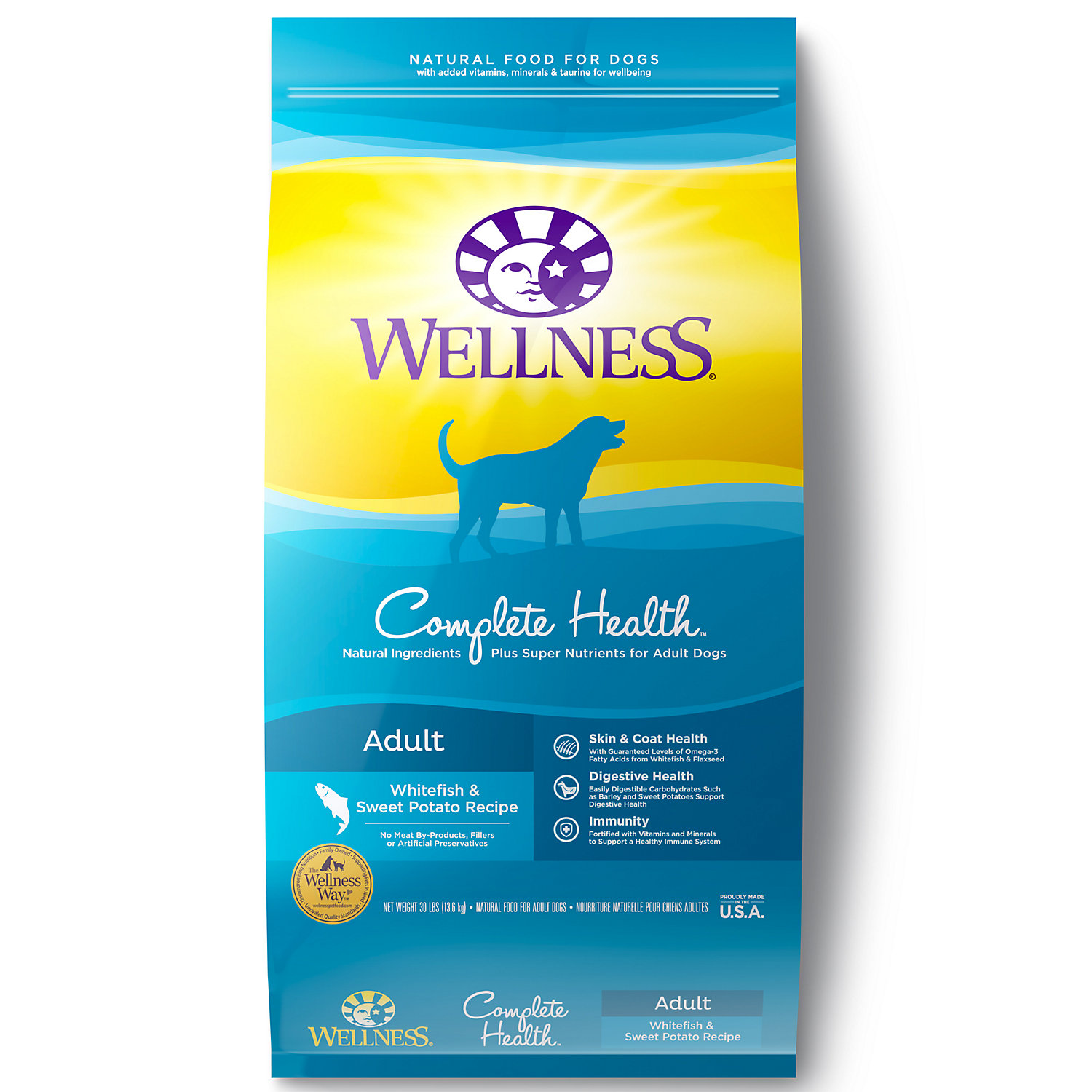 Wellness Complete Health Natural Whitefish Sweet Potato Recipe Dry Dog Food 30 Lbs.