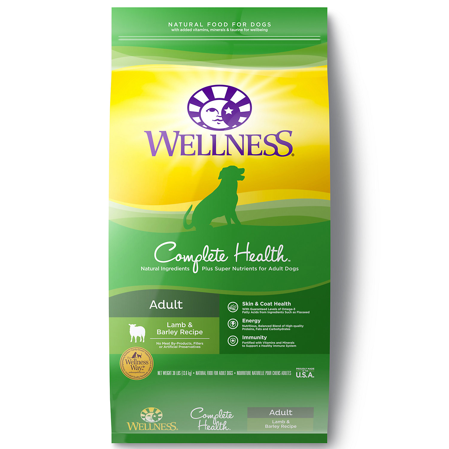 Wellness Complete Health Natural Lamb Barley Salmon Meal Recipe Dry Dog Food 30 Lbs.