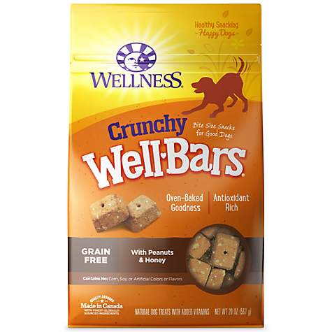 Wellness Natural Grain Free Wellbars Crunchy Peanut & Honey Recipe Dog Treats