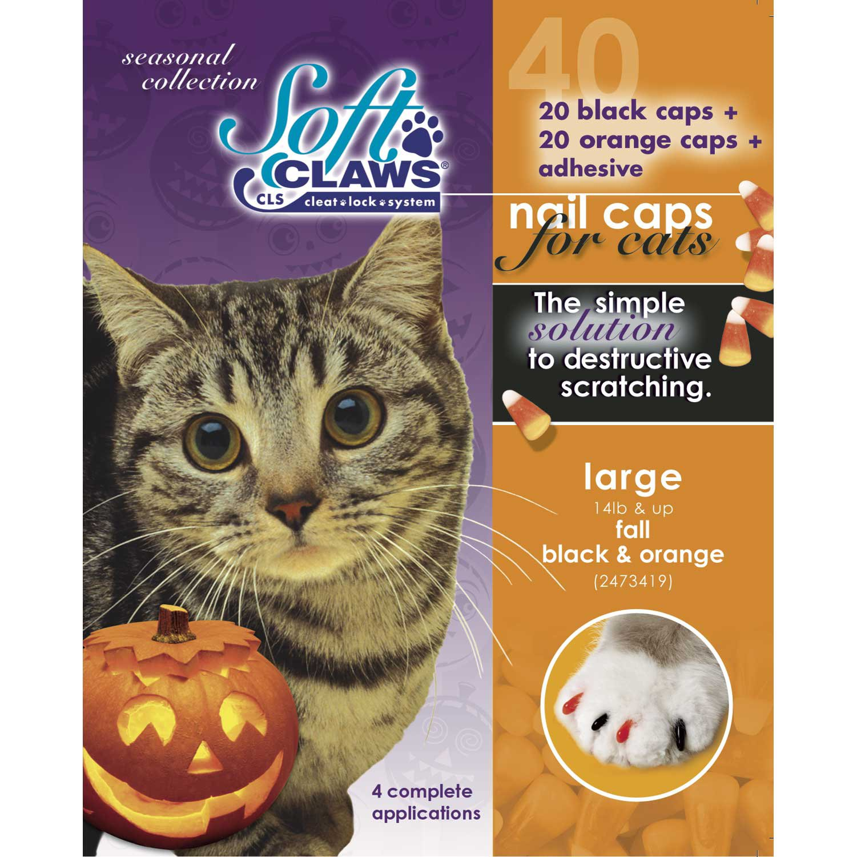 Soft Claws Seasonal Halloween Orange & Black Cat Nail Caps