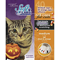 Soft Claws Seasonal Halloween Orange & Black Cat Nail Caps