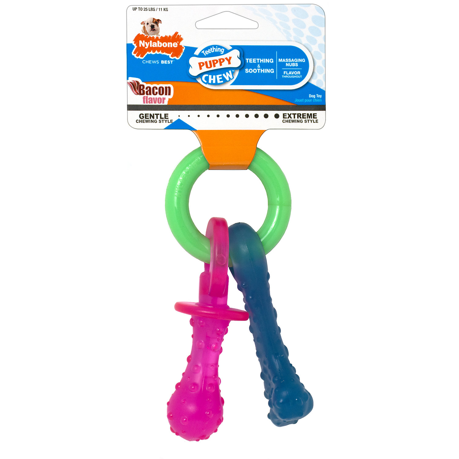 Nylabone Puppy Teething Pacifier Flexible Chew Toy, X-Small