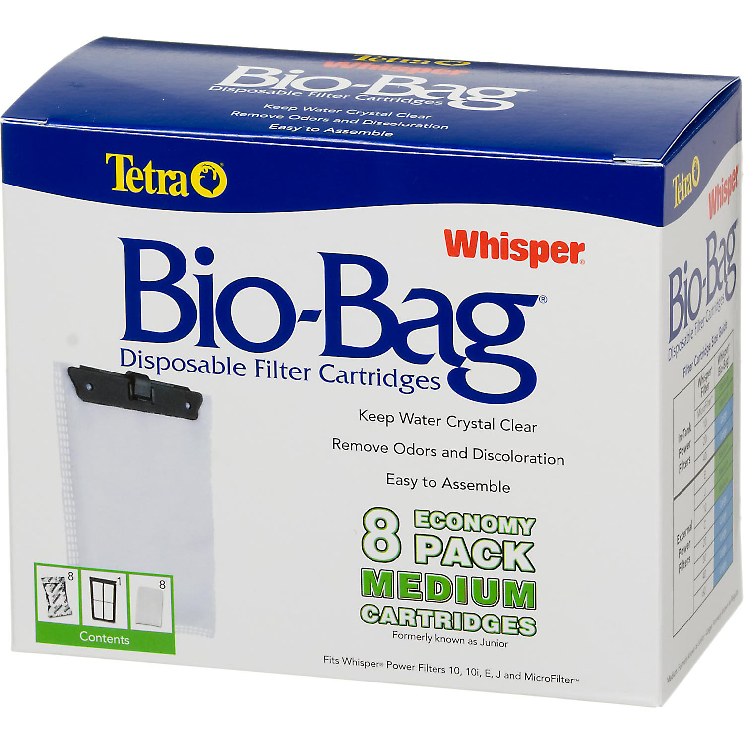 Tetra Whisper Bio Bag Disposable Filter Cartridges Medium Pack Of 8 Cartridges