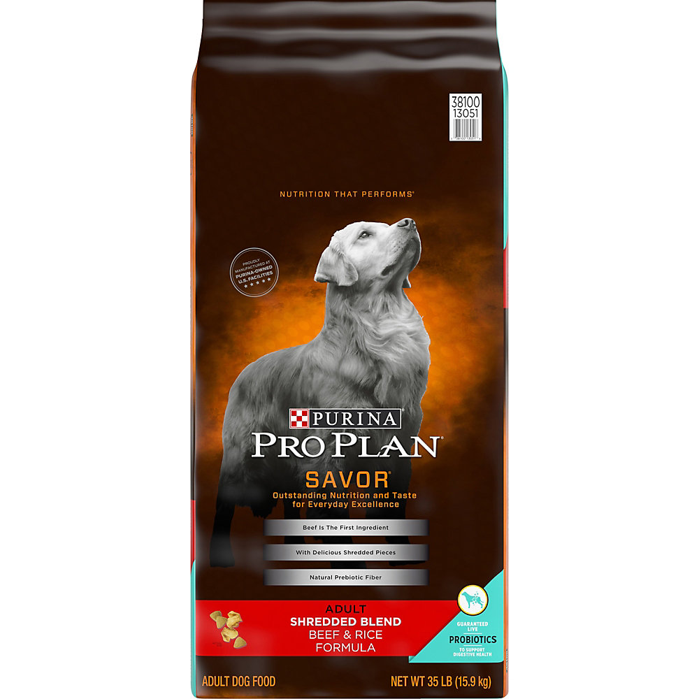 Pro Plan Savor Shredded Blend Beef & Rice Adult Dog Food, 35 lbs.