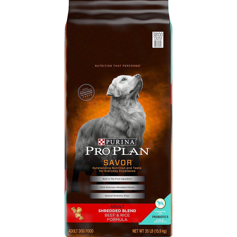 Pro Plan Savor Shredded Blend Beef Rice Adult Dog Food 35