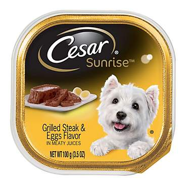 Cesar Sunrise Grilled Steak and Eggs Flavor Breakfast Dog Food Trays