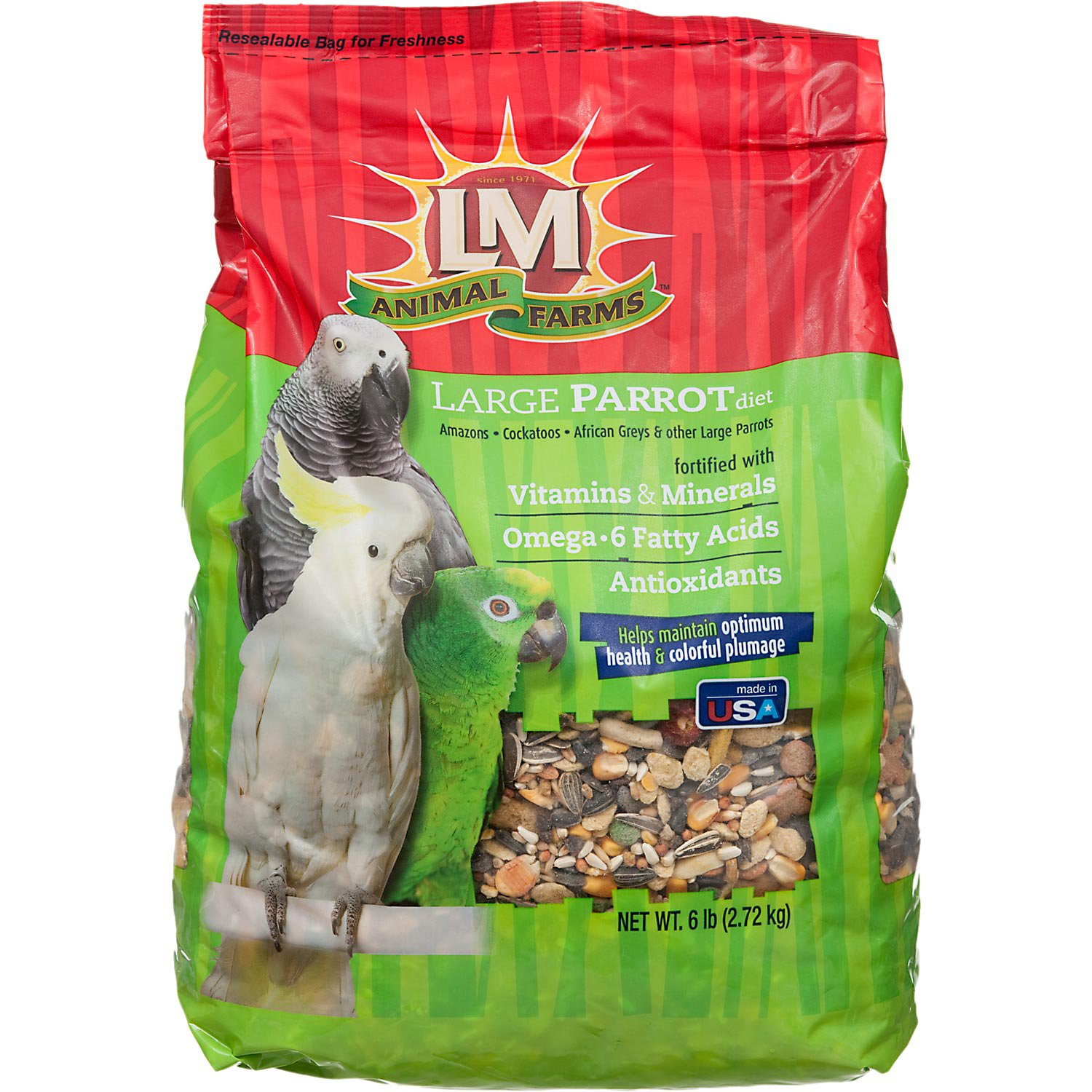 LM Animal Farms Large Parrot Diet Bird Food