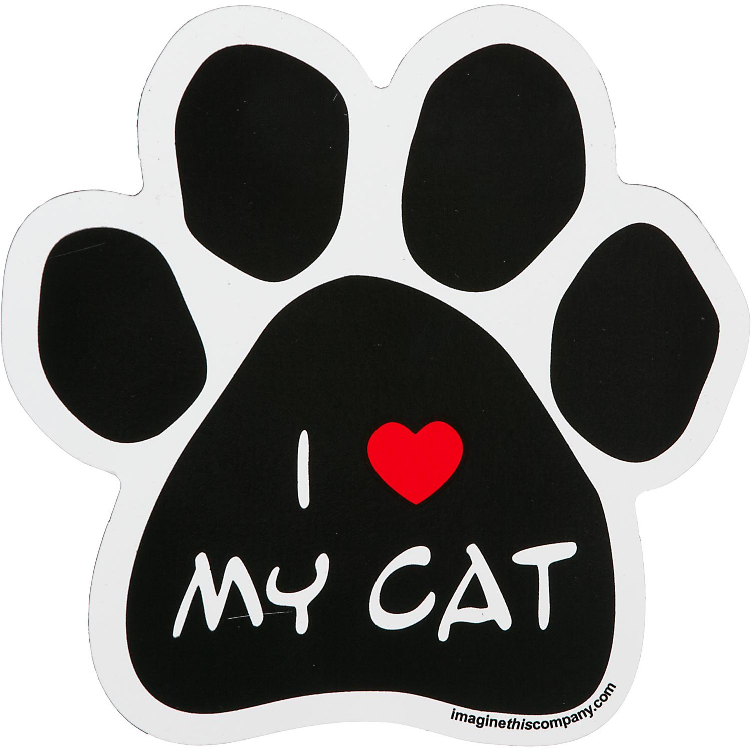 Imagine This I Love My Cat Paw Shaped Car Magnet Petco