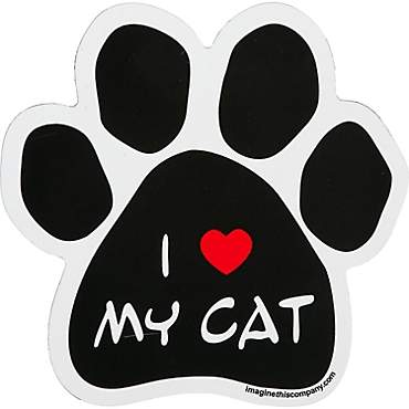 Imagine This I Love My Cat Paw Shaped Car Magnet