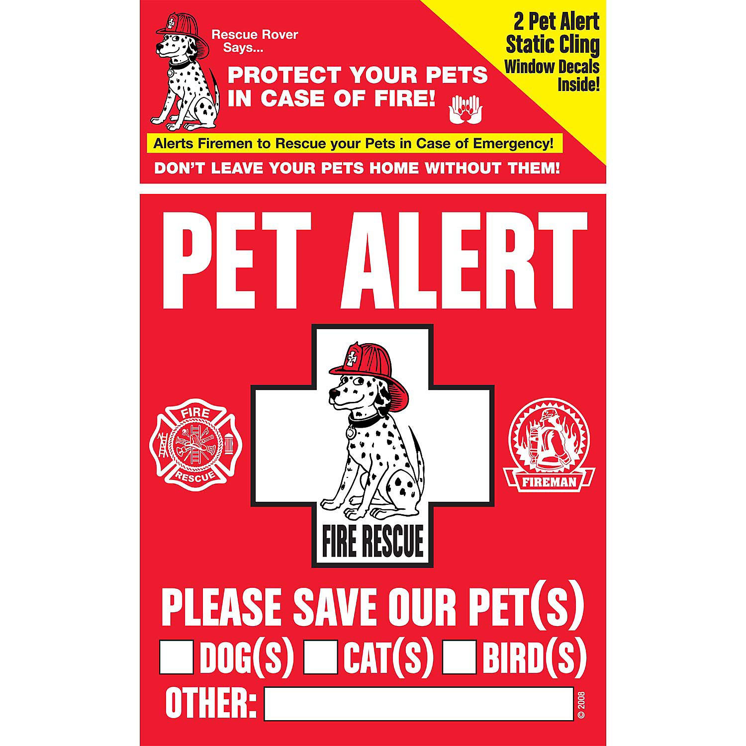 Pet Safety Alert Rescue Rover Pet Alert Fire Rescue Decals Pack Of 2 Decals 4 W X 5 H