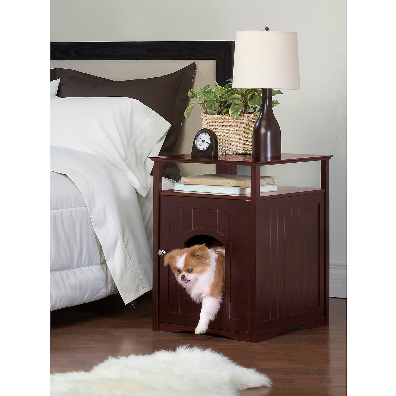 Merry Products Cat Washroom Night Stand Pet House In Espresso