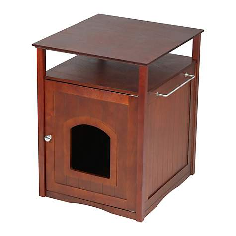 Merry Products Cat Washroom-Night Stand & Pet House in Walnut