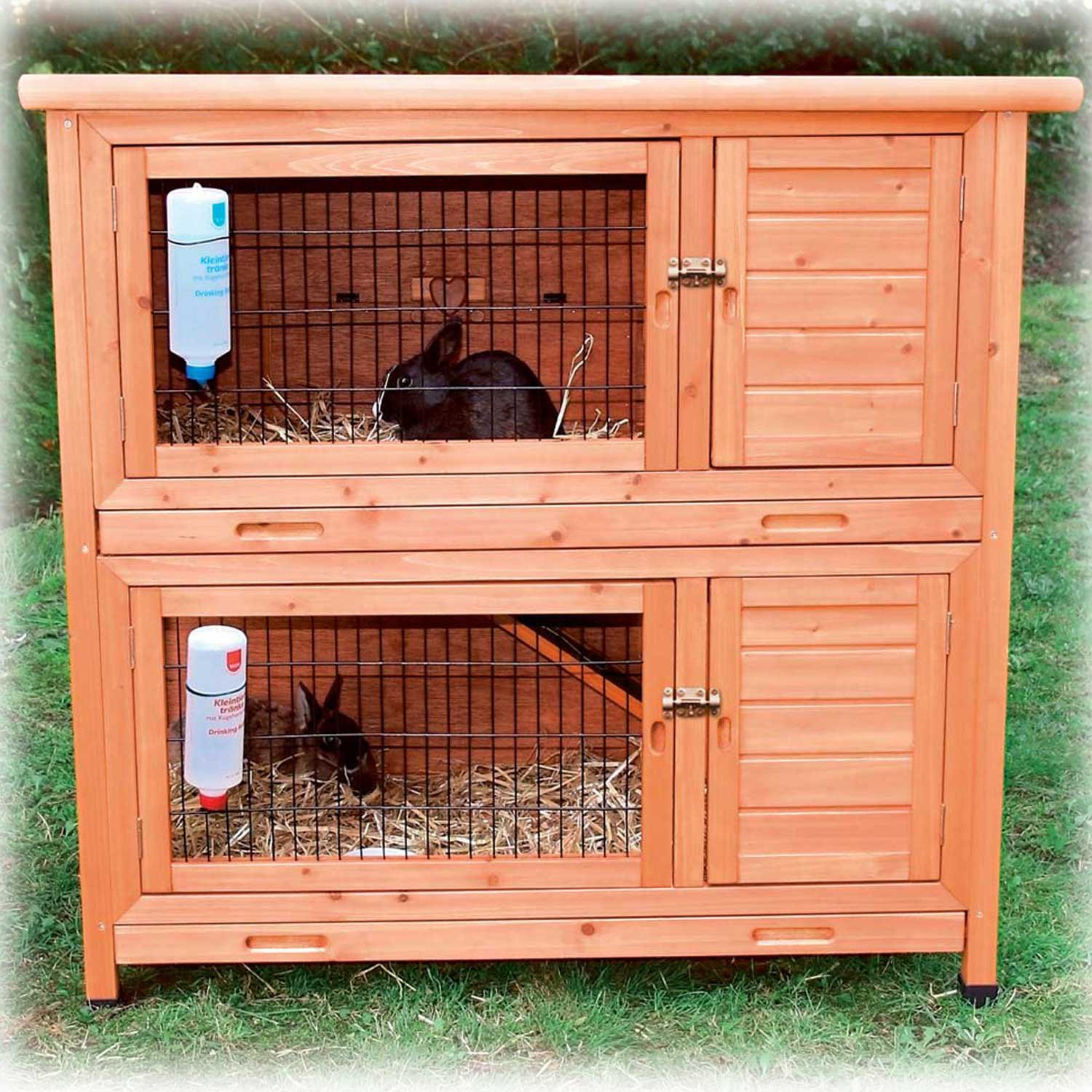 rabbits cage hutch rabbit itm small story two mesh wire outdoor trixie run extra details wood pet
