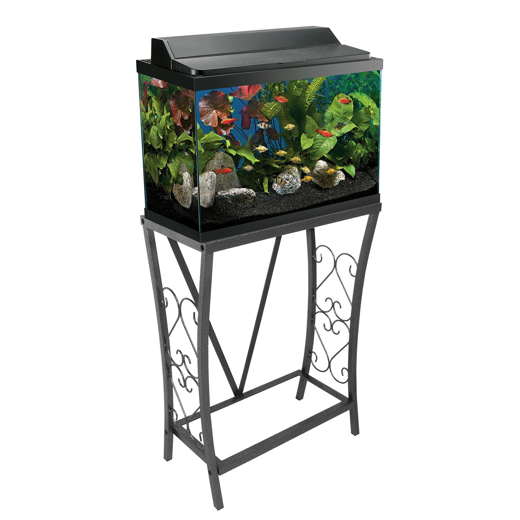 Aquatic Fundamentals Silver Vein Scroll Aquarium Stand, 10 ... 10 Gallon Fish Tank Stand