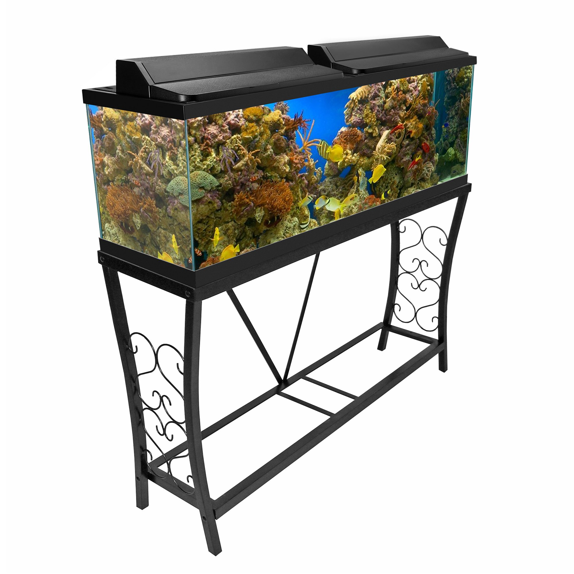 Aquatic fundamentals black scroll aquarium stand 55 for Fish tank table stand