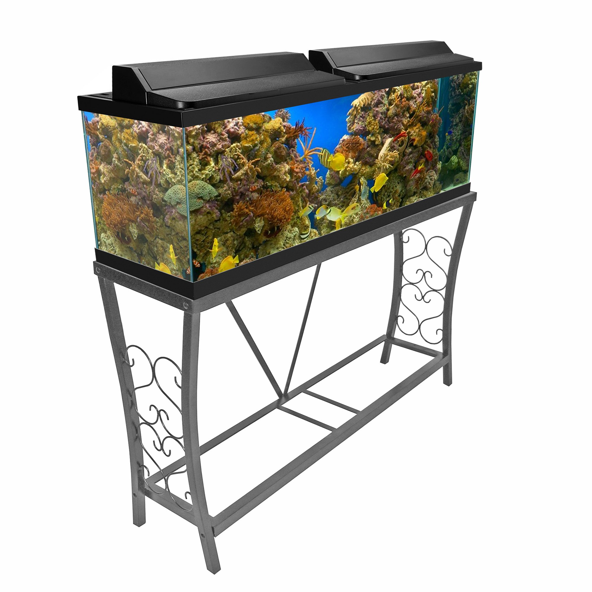 Aquatic fundamentals silver vein scroll aquarium stand 55 for 55 gallon fish tank stand