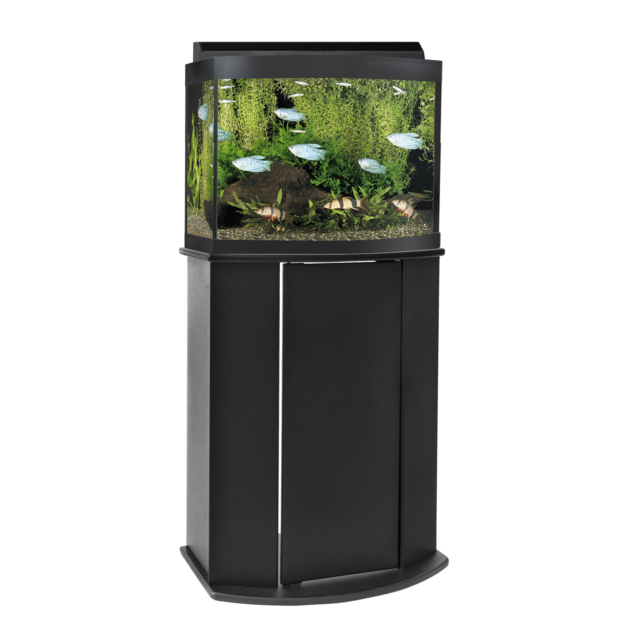 Aquatic Fundamentals Black 16 Upright Bowfront ...  sc 1 st  Petco & Aquarium Stands Canopies u0026 Cabinets | Petco Store
