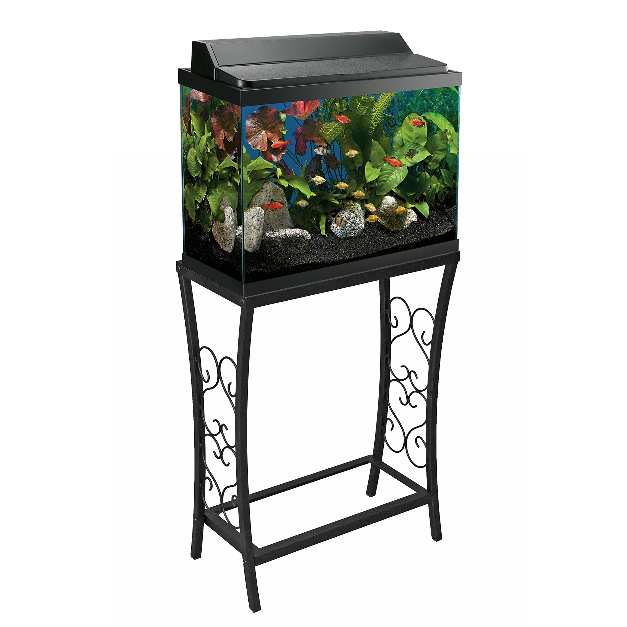 Fish tank heater 10 gallon - Aquatic Fundamentals Black Scroll Aquarium Stand 10 Gallons