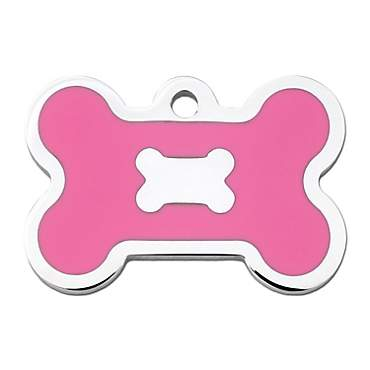 Quick-Tag Pink Epoxy Chrome Bone Personalized Engraved Pet ID Tag, Large