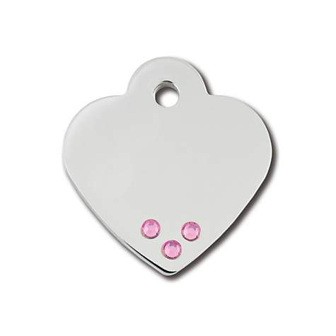 Quick-Tag Small Pink Crystal Small Chrome Heart Personalized Engraved Pet ID Tag, Small