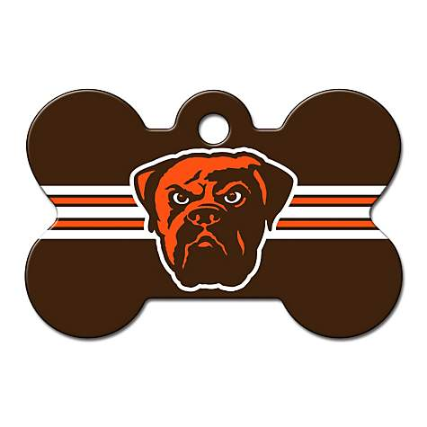 83fb60486 Quick-Tag Cleveland Browns NFL Bone Personalized Engraved Pet ID Tag ...