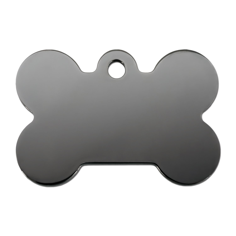 quick tag smokey black bone personalized engraved pet id tag large