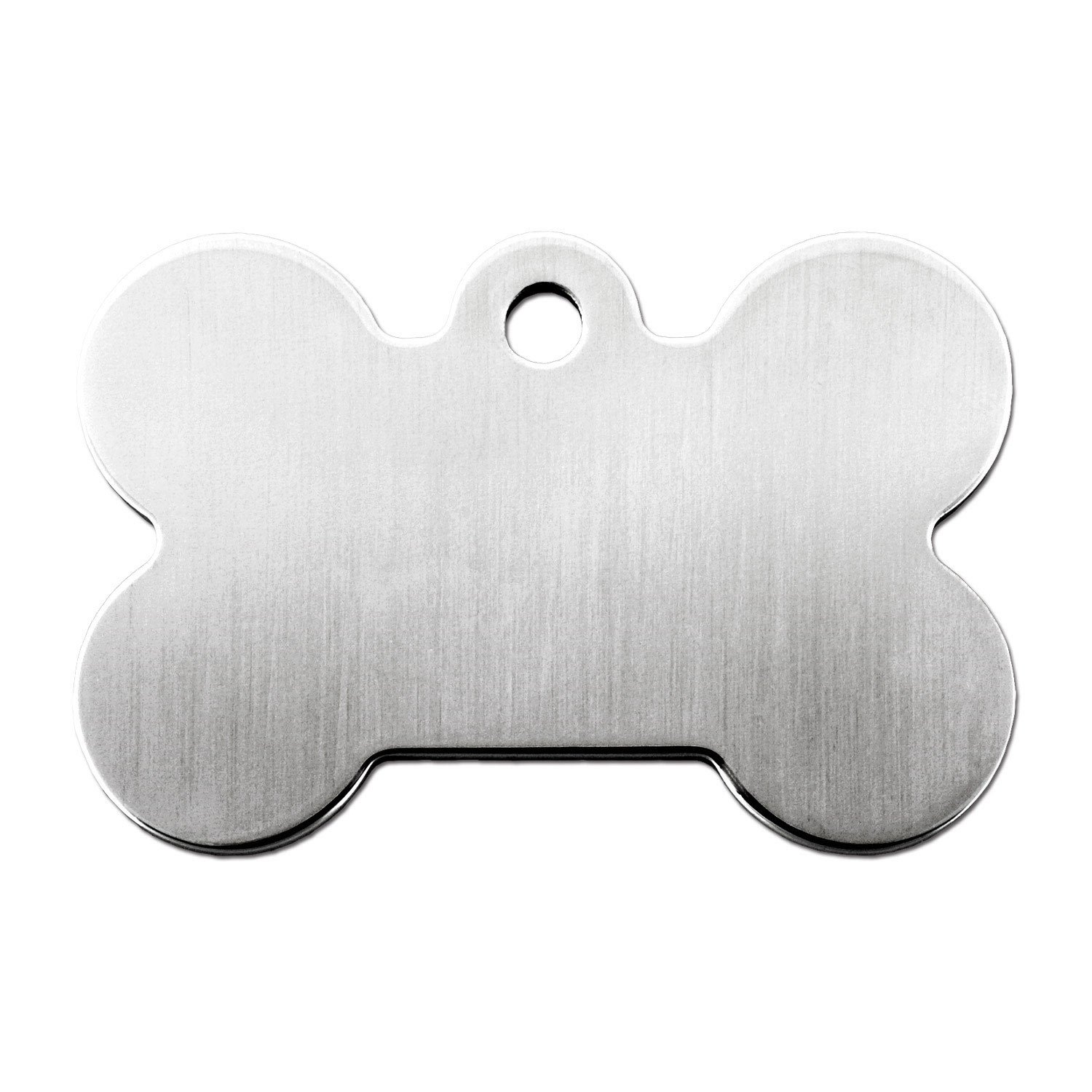Quick Tag Brushed Chrome Bone Personalized Engraved Pet Id