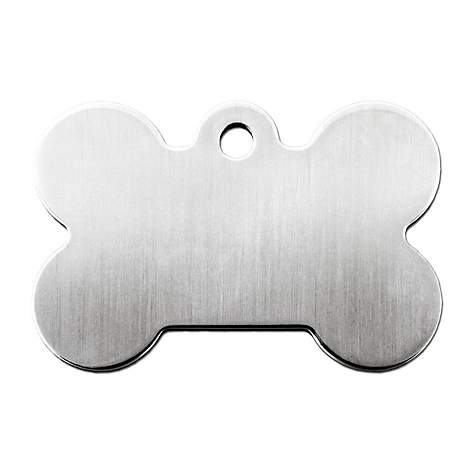 Quick-Tag Brushed Chrome Bone Personalized Engraved Pet ID Tag, Large