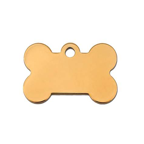 Quick-Tag Gold Bone Personalized Engraved Pet ID Tag, Small