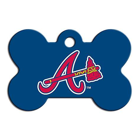 Quick-Tag Atlanta Braves MLB Bone Personalized Engraved Pet ID Tag, Large