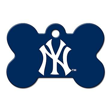 Quick-Tag New York Yankees MLB Bone Personalized Engraved Pet ID Tag, Large