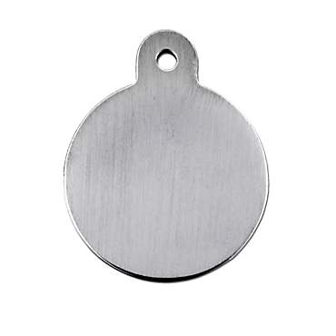 Quick-Tag Brushed Chrome Circle Personalized Engraved Pet ID Tag, Large