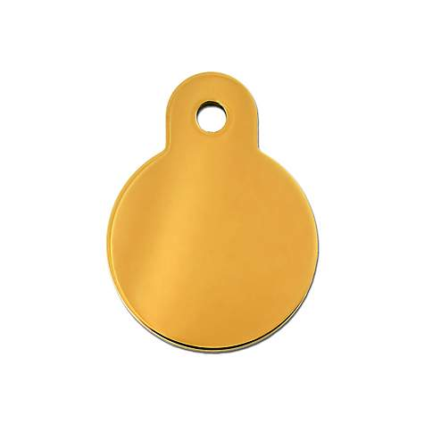 Quick-Tag Gold Circle Personalized Engraved Pet ID Tag, Small