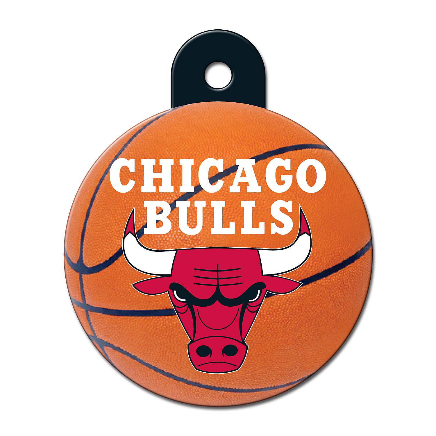 Quick-Tag Chicago Bulls NBA Circle Personalized Engraved Pet ID Tag, Large, Black