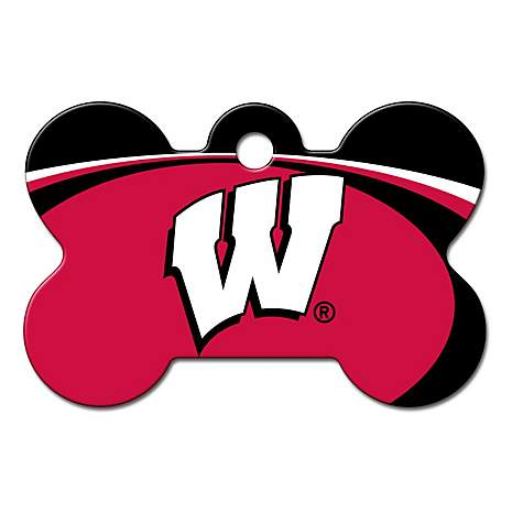 Quick-Tag Wisconsin Badgers NCAA Bone Personalized Engraved Pet ID Tag, Large
