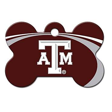 Quick-Tag Texas A&M Aggies NCAA Bone Personalized Engraved Pet ID Tag, Large