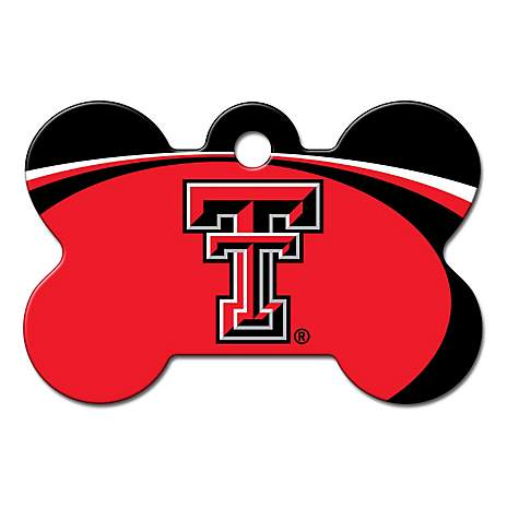 purchase cheap b9761 f0ab6 Quick-Tag Texas Tech Raiders NCAA Bone Personalized Engraved Pet ID Tag,  Large   Petco
