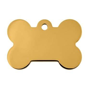 Quick-Tag Gold Bone Personalized Engraved Pet ID Tag, Large