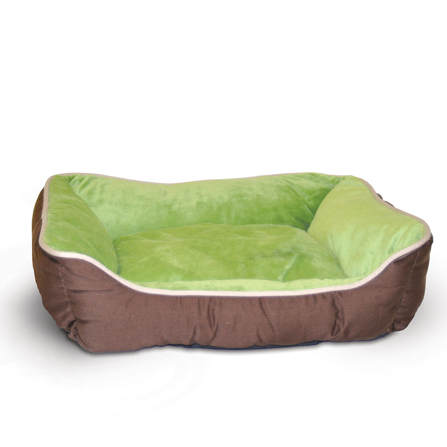 K&h Mocha & Green Self-warm Lounge Sleeper Self Warming Pet Bed, 20 L X 16 W, Small, Brown / Green