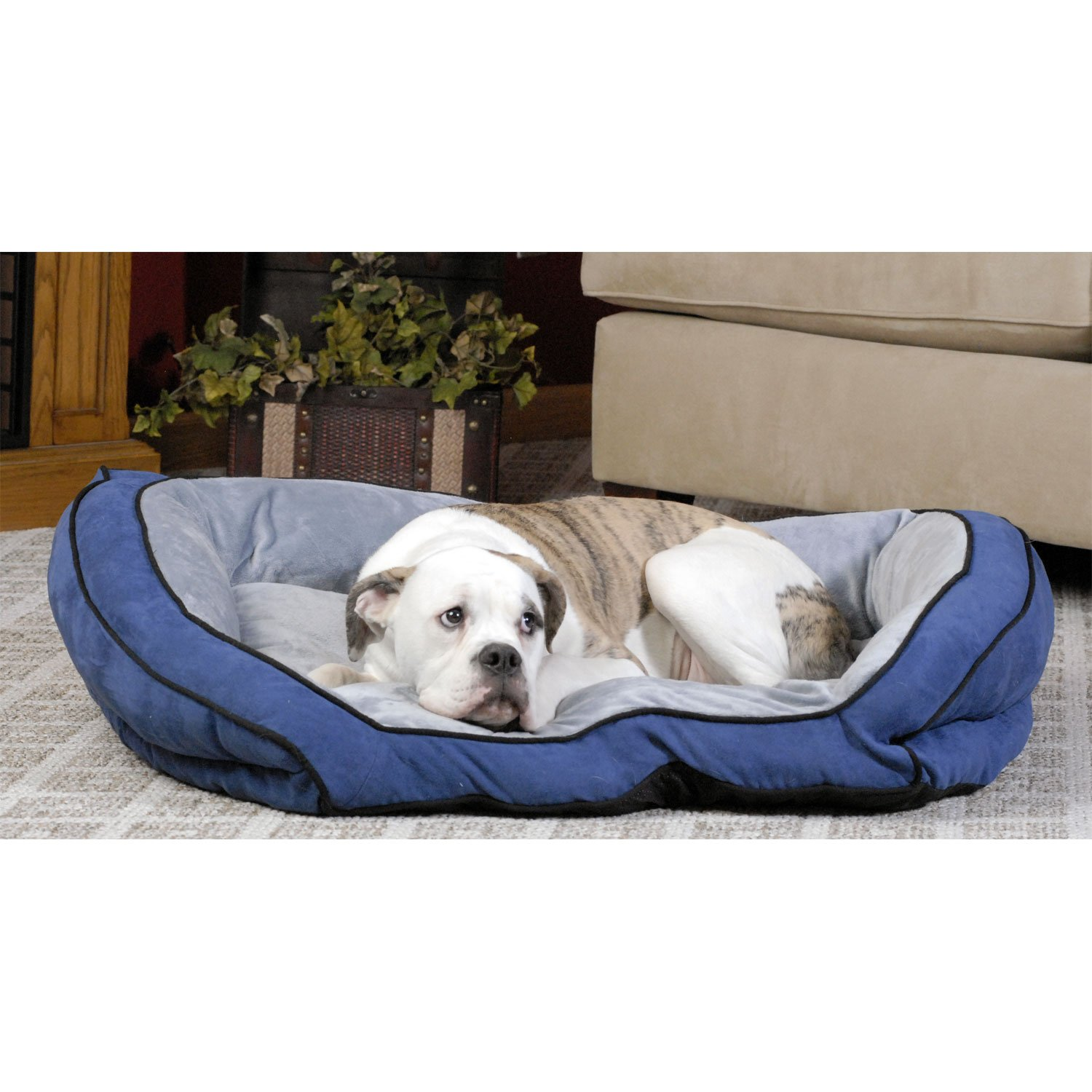 K Amp H Bolster Couch Dog Bed In Blue Amp Gray Petco