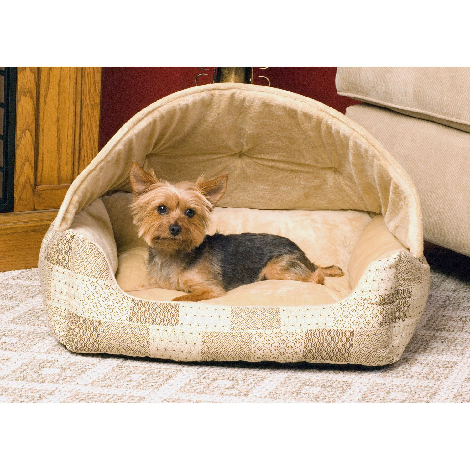 K Amp H Lounge Sleeper Hooded Pet Bed In Tan Patchwork Petco