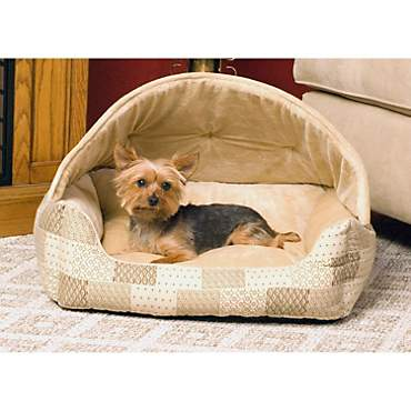 K&H Lounge Sleeper Hooded Pet Bed in Tan Patchwork