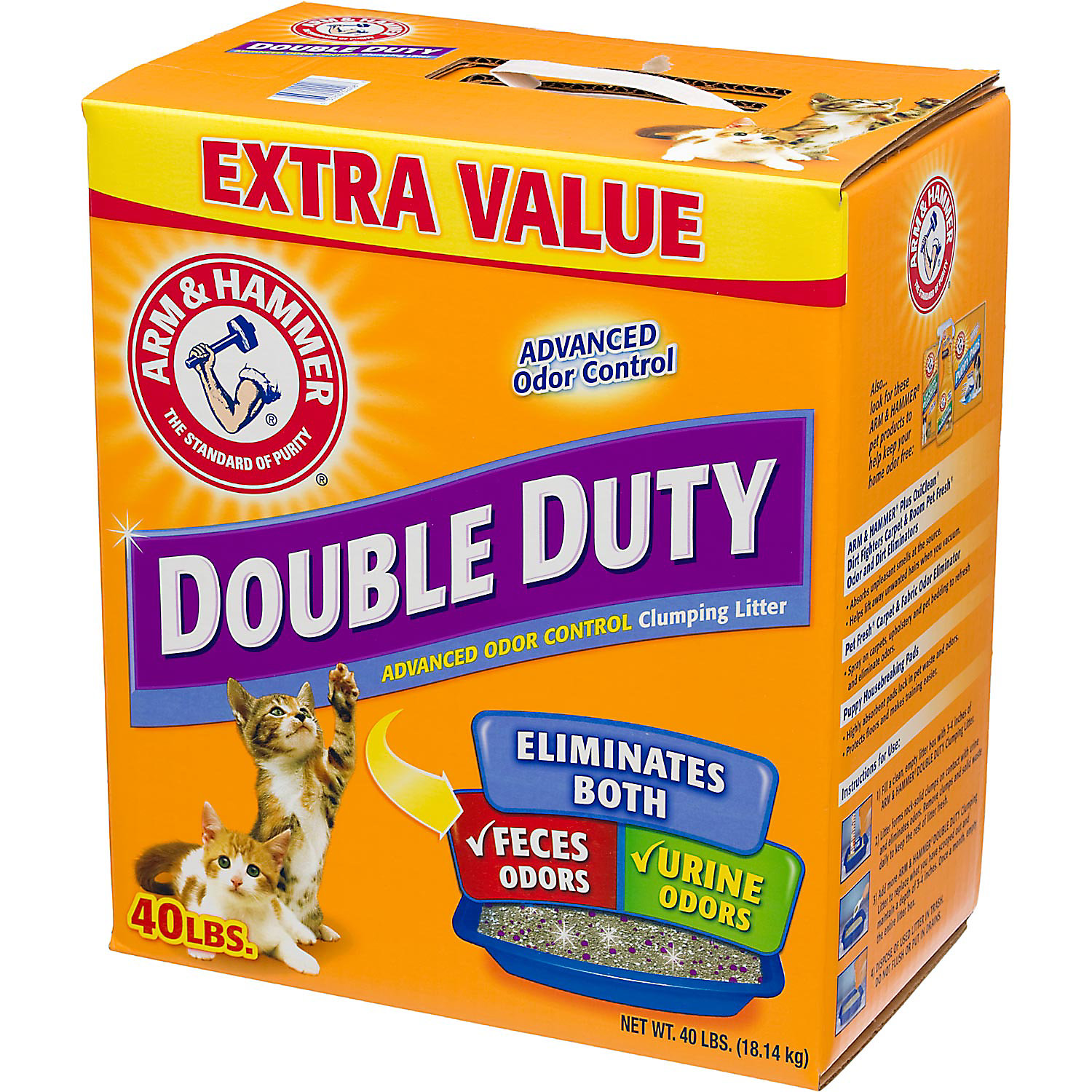 Arm Hammer Double Duty Advanced Odor Control Clumping Cat Litter 40 Lbs.