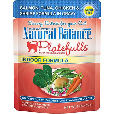 Natural Balance Platefulls Salmon, Tuna, Chicken & Shrimp Indoor Adult Cat Food