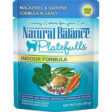 Natural Balance Platefulls Mackerel & Sardine Indoor Adult Cat Food