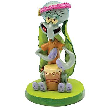 Penn Plax SpongeBob Squidward with Drum Aquarium Ornament