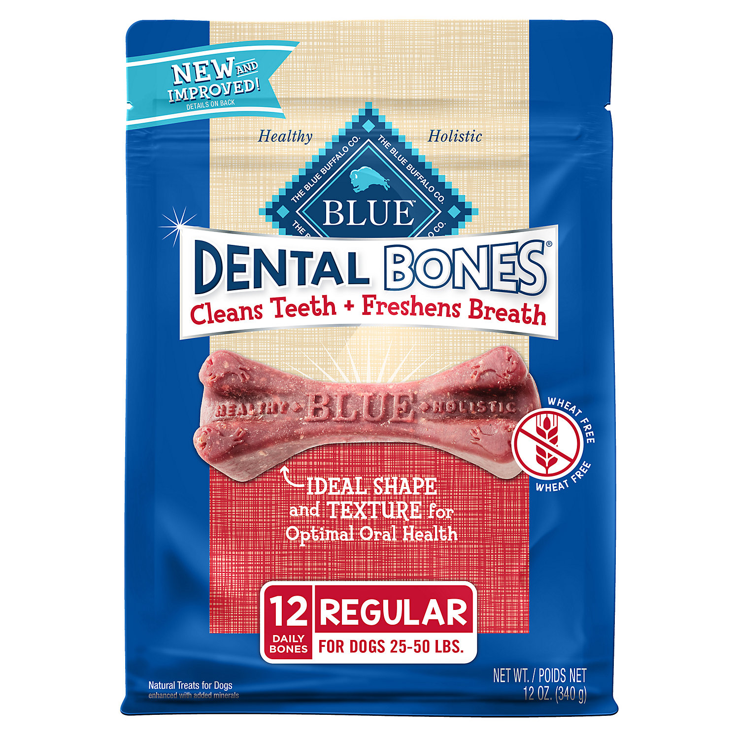 Blue Buffalo Regular Blue Bones Natural Dog Dental Chews 12 Oz.