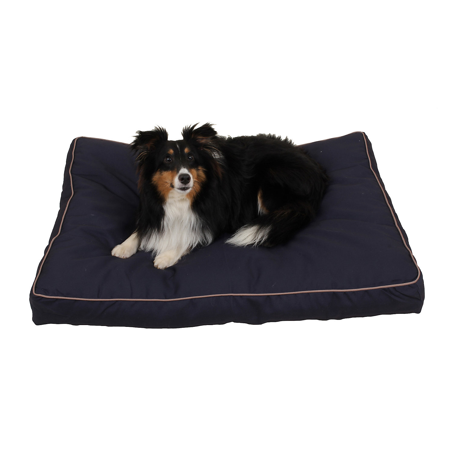 "Carolina Pet Company Indoor Outdoor Jamison Blue Faux Gusset Dog Bed, 36"" L X 27"" W X 4"" H, Small"
