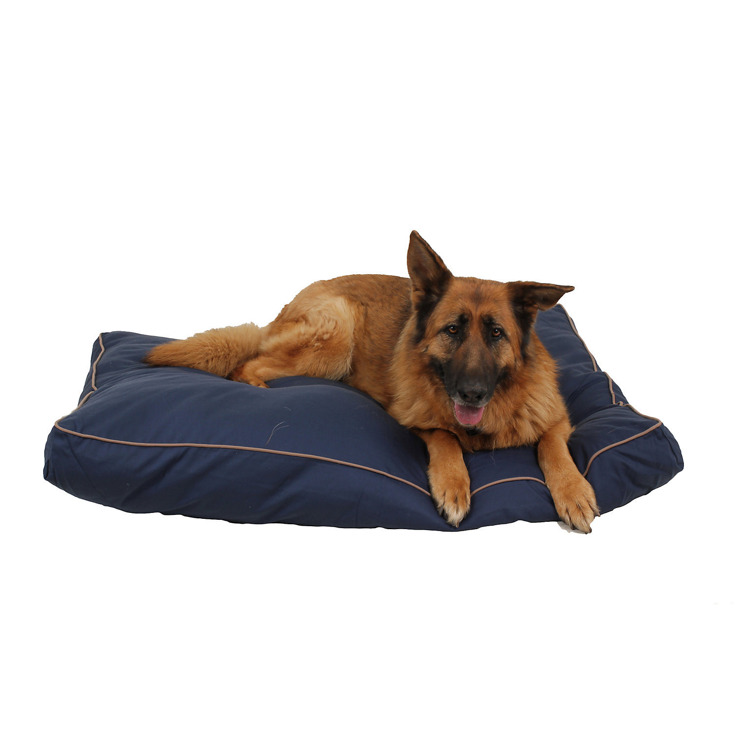 "Carolina Pet Company Indoor Outdoor Jamison Blue Faux Gusset Dog Bed, 36"" L X 27"" W X 4"" H, Large"