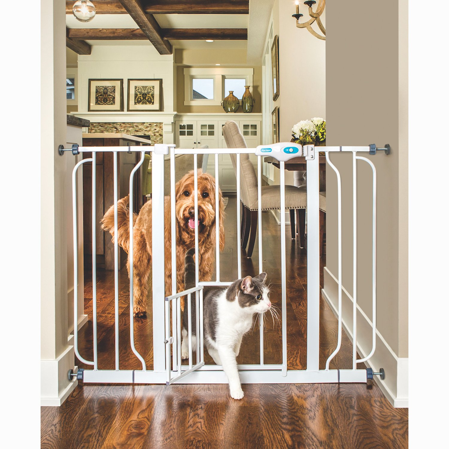 wood door pet majestic gate dogs pd stain doors shop gates insert cherry with pets for free universal standing
